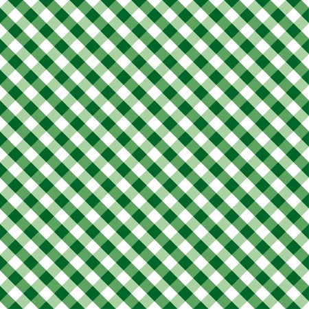 Seamless Cross Weave Gingham Pattern in green and white includes pattern swatch that will seamlessly fill any shape  Stock Illustratie