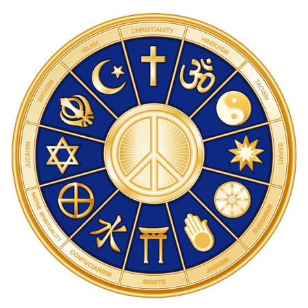World Religions, International Peace Symbol  Islam, Christianity, Hinduism, Taoism, Baha i, Buddhism, Jain, Shinto, Confucianism, Native Spirituality, Judaism, Sikh, with labels  Vector