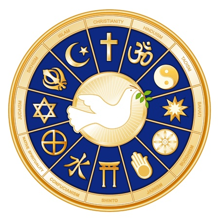 World Religions surrounding Dove of Peace  Islam, Christianity, Hinduism, Taoism, Baha i, Buddhism, Jain, Shinto, Confucianism, Native Spirituality, Judaism, Sikh, with labels  Illustration