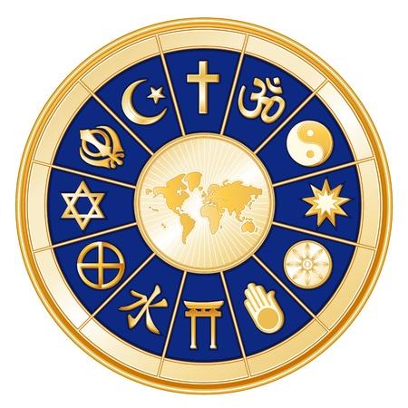 spokes: Religiones del mundo alrededor de la tierra mapa el Islam, el cristianismo, el hinduismo, el tao�smo, Baha i, el Budismo, Jain, el sinto�smo, el confucionismo, la espiritualidad ind�gena, el juda�smo, sikh Vectores