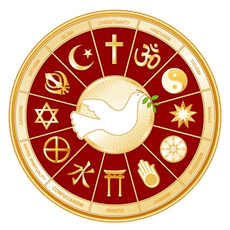 confucianism: World Religions surrounding Dove of Peace  Islam, Christianity, Hinduism, Taoism, Baha i, Buddhism, Jain, Shinto, Confucianism, Native Spirituality, Judaism, Sikh, with labels  Illustration