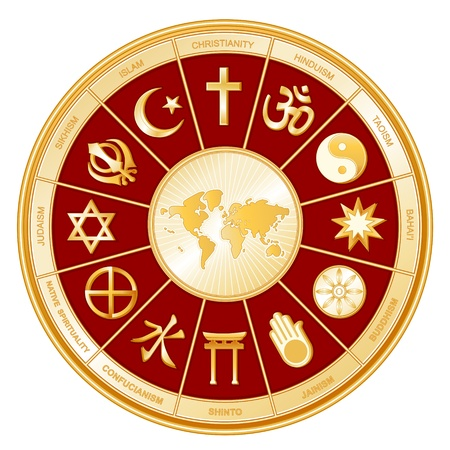 World Religions surrounding earth map  Islam, Christianity, Hinduism, Taoism, Baha i, Buddhism, Jain, Shinto, Confucianism, Native Spirituality, Judaism, Sikh with labels   Vector