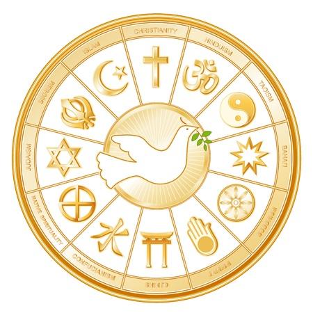 circundante: Religi�es Mundiais em torno pomba da paz Isl�, Cristianismo, Hindu�smo, Tao�smo, Baha i, Budismo, Jain, Xinto�smo, Confucionismo, Espiritualidade Native, Juda�smo, Sikh, com r�tulos Ilustra��o