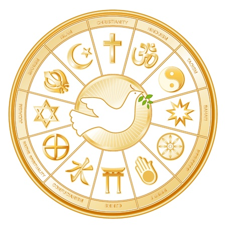 World Religions surrounding Dove of Peace  Islam, Christianity, Hinduism, Taoism, Baha i, Buddhism, Jain, Shinto, Confucianism, Native Spirituality, Judaism, Sikh, with labels  Vector