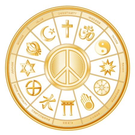 jain: World Religions, International Peace Symbol  Islam, Christianity, Hinduism, Taoism, Baha i, Buddhism, Jain, Shinto, Confucianism, Native Spirituality, Judaism, Sikh, with labels