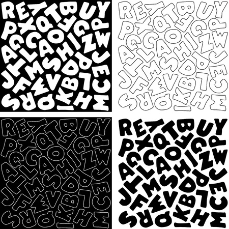 Black and White Alphabet Background Design Patterns Çizim