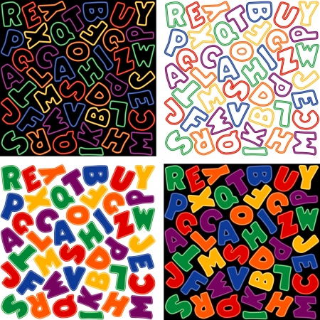 Neon Alphabet Background Design Patterns, Multicolor Stock Vector - 14202181