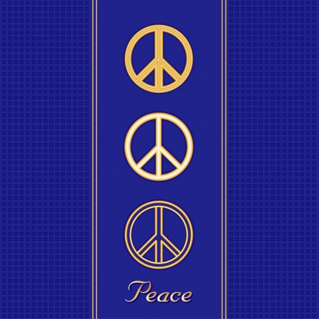 nonviolence: Golden Peace Symbols in three design styles, royal blue background