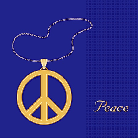 nonviolence: Peace Symbol Gold Embossed Pendant Necklace, Chain, royal blue background  Illustration
