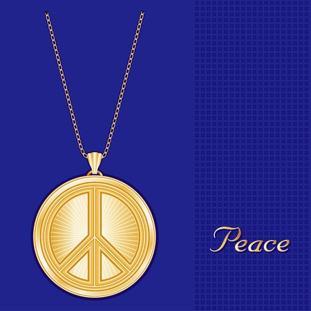 nonviolence: Peace Symbol Gold Pendant Necklace, Chain, star burst design pattern, royal blue background  Illustration