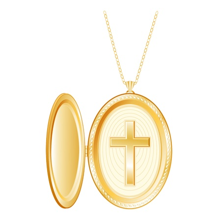 born again: Christian Cross Engraved Vintage Gold Locket, necklace chain, isolated on white Illustration