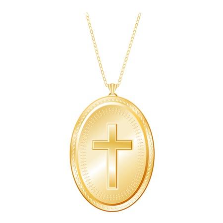 medaglione: Christian Cross inciso Vintage Gold Locket, catena collana, isolato su bianco Vettoriali