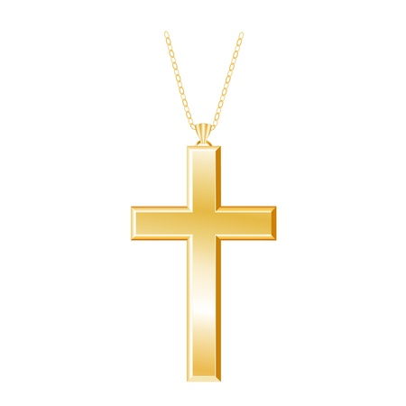 Gold Christian Cross with chain necklace, isolated on white
