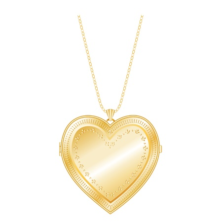 compatible: Vintage Keepsake Gold Heart Locket, chain necklace, isolate  EPS8 compatible  Illustration