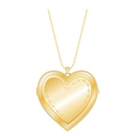 keepsake: Vintage Keepsake Gold Heart Locket, chain necklace, isolate  EPS8 compatible  Illustration