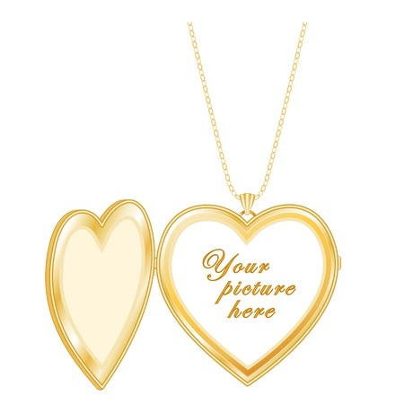 inscription: Vintage Keepsake Gold Heart Locket, chain necklace, isolated on white  Copy space for picture or inscription