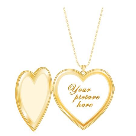 medaglione: Vintage Keepsake Gold Heart Locket, collana a catena, isolato su uno spazio bianco per copia immagine o scritta Vettoriali