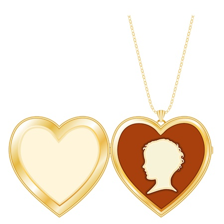cameo: Gold Keepsake Heart Locket, child s vintage cameo, chain necklace, isolated on white  Copy space for picture or inscription   Isolated on white Illustration