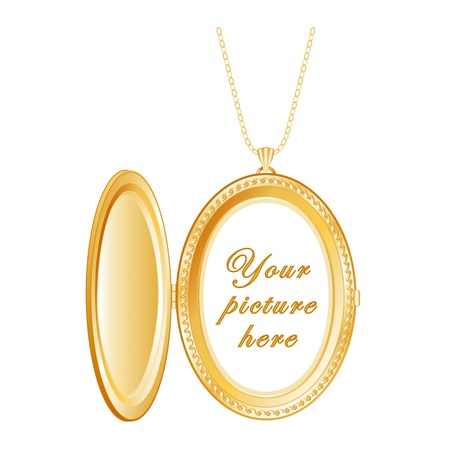 Vintage Gold Keepsake Locket, chain necklace, isolated on white  Copy space for picture or inscription