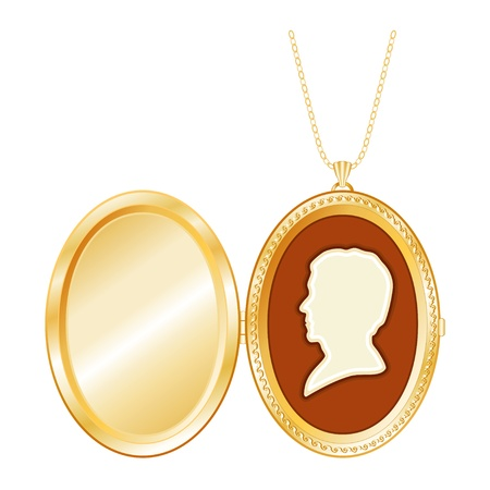 Gold Engraved Keepsake Locket, vintage man s cameo silhouette, chain necklace, isolated on white  Copy space for picture or inscription