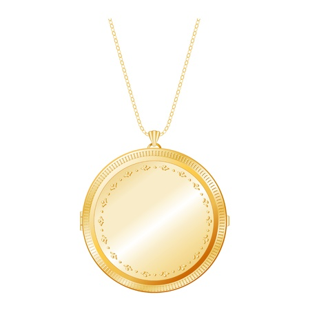 medaglione: Vintage Locket Keepsake oro con incisione dettagliata, collana a catena, isolato su bianco EPS8 compatibile