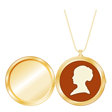 Gold Engraved Keepsake Locket, vintage lady s cameo silhouette, chain necklace, isolated on white  Copy space for picture or inscription