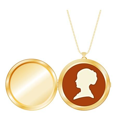 medaglione: Keepsake medaglione d'oro inciso, silhouette vintage cameo lady s, collana a catena, isolato su uno spazio bianco per copia immagine o scritta