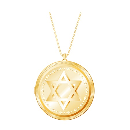Gold Locket Engraved with Star of David, necklace chain, isolated on white
