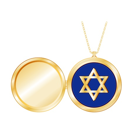 Star of David in Gold Locket, necklace chain, isolated on white  Copy space for picture or inscription