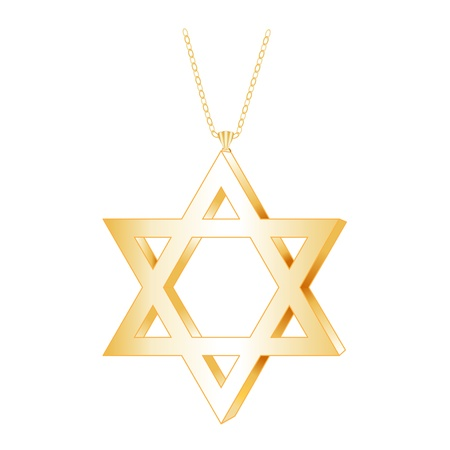 Gold Star of David Pendant with gold chain necklace, isolated on white Vector