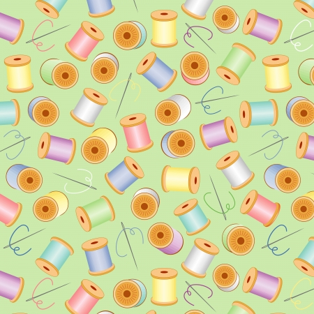 Needles and Threads Seamless Background Vector