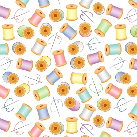 Needles and Pastel Threads Seamless Background Vector