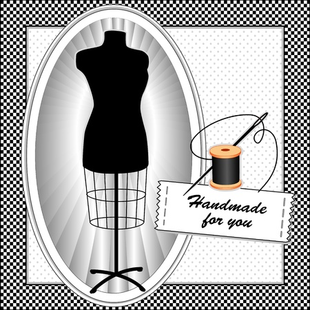 sew tags: Fashion Model, tailors female mannequin dress form in oval frame, needle and thread, sewing label with text, Handmade for you,  black gingham check pattern frame, polka dot background