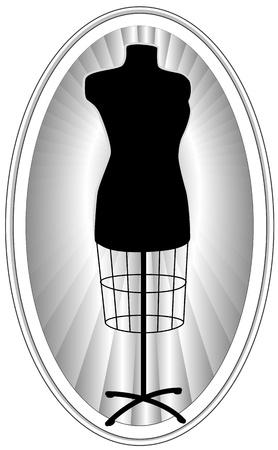 manikin: Modelo de modas, sastrer�a femenina forma de vestir maniqu� en negro, marco ovalado con fondo de rayos