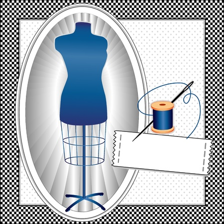 Fashion Model, sapphire blue tailors female mannequin dress form in oval frame, needle and thread, sewing label with copy space, black gingham check pattern frame, polka dot background