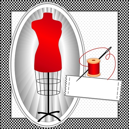Fashion Model, red tailors female mannequin dress form in oval frame, needle and thread, sewing label with copy space, black gingham check pattern frame, polka dot background   Illusztráció