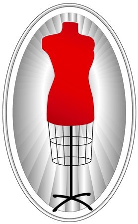 tailored: Fashion Model, tailors female mannequin dress form in red, oval frame with ray background