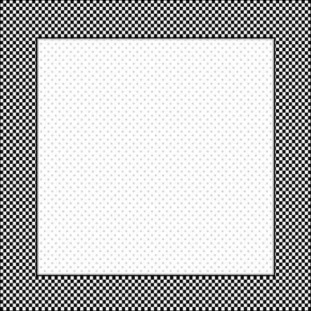 Gingham Check Frame in black and white, polka dot background, copy space for posters, announcements, scrapbooks  Illustration