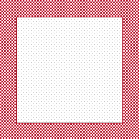 Gingham Check Frame in red and white, polka dot background, copy space for posters, announcements, scrapbooks