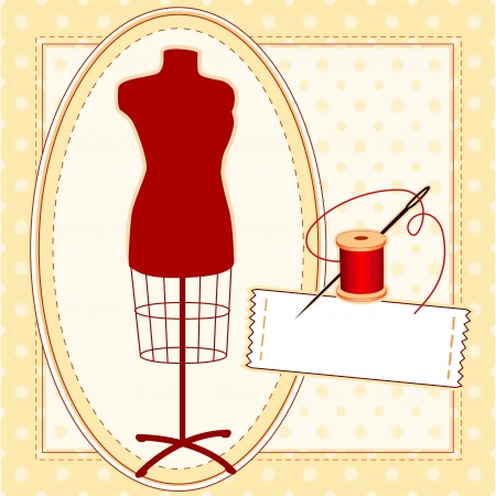 Fashion Model, red tailors female mannequin dress form in oval frame, needle and thread, sewing label with copy space, pattern frame and background