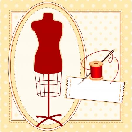 coser: Modelo de modas, de color rojo sastres forma de vestir femenina maniquí en marco oval con aguja e hilo, coser etiquetas con copia espacio, marco de modelo y de fondo