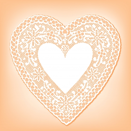 Vintage Lace Heart Doily, pastel peach background Stock Vector - 14312619