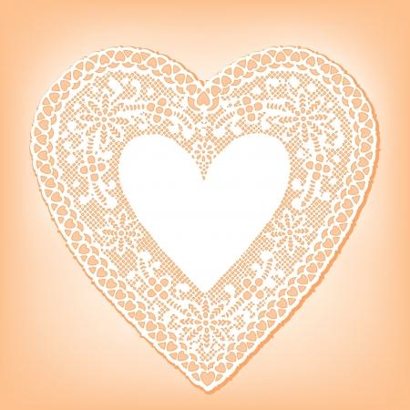 Vintage Lace Heart Doily, pastel peach background Vector