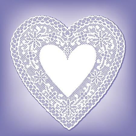 place mat: Vintage Lace Heart Doily, pastel blue background