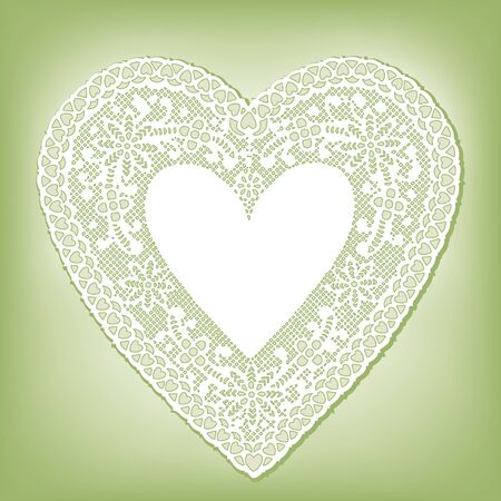 Vintage Lace Heart Doily, pastel green background