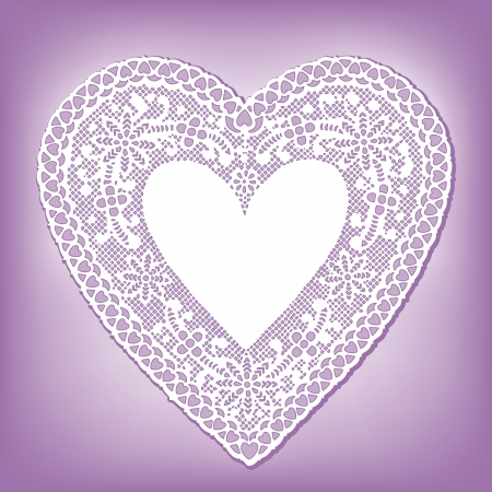 Vintage Lace Heart Doily, pastel lavender background Vector