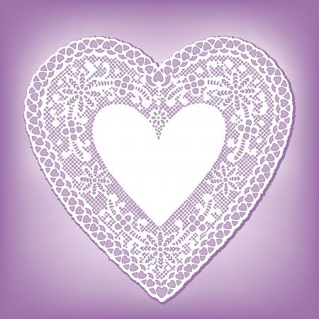 Vintage Lace Heart Doily, pastel lavender background Vector