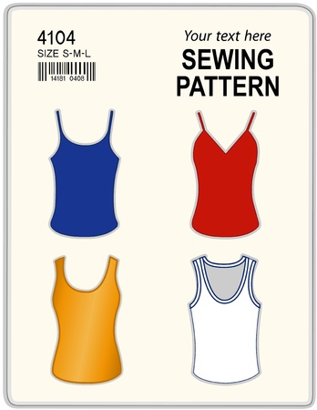 Fashion sewing pattern for women, four styles tank tops, t shirts, isolated on white, copy space to add your name or art