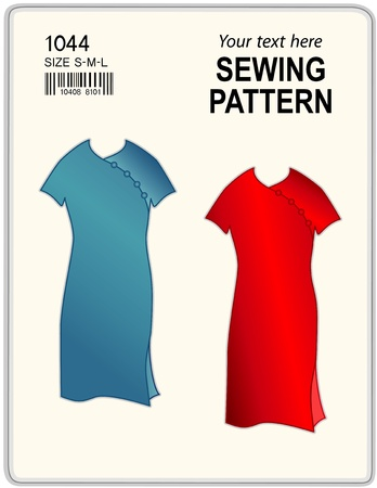tunic: Fashion sewing pattern for women, two dresses, isolated on white, copy space to add your name or art   Illustration
