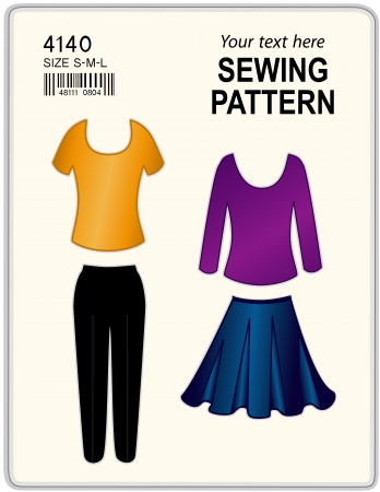 Fashion sewing pattern for women, pants, skirt, shirt, tunic, isolated on white, copy space to add your name or art